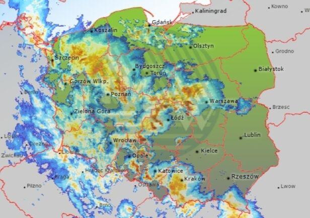 Radar opadów, wtorek 6 czerwca, godz. 21:30 IMGW