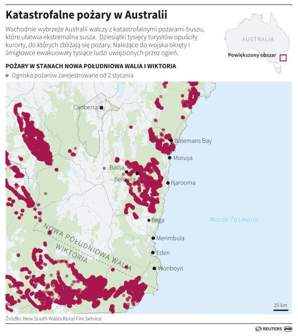 Pożary w Australii (PAP/Adam Ziemienowicz)