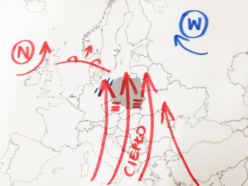 Do Polski napływa ciepłe i wilgotne powietrze