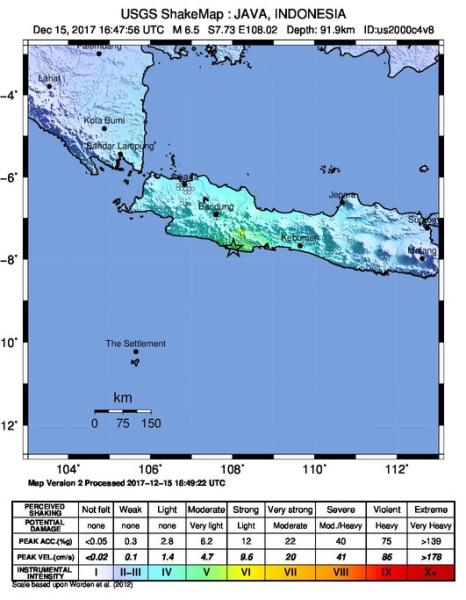 Mapa wstrząsów w Indonezji (USGS)