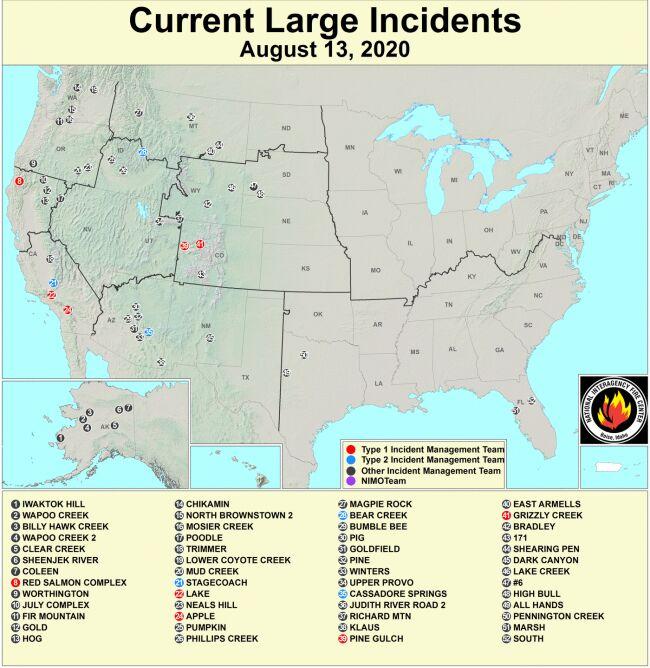 Mapa aktywnych pożarów w USA z 13 sierpnia