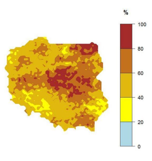 """Prawdopodobieństwo wystąpienia klasy """"powyżej normy"""" dla średniej temperatury powietrza w grudniu 2019 r. (IMGW-PiB)"""