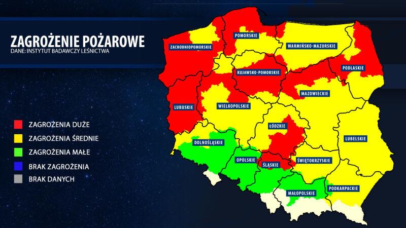 Mapa zagrożenia pożarowego (bazapozarow.ibles.pl/zagrozenie)